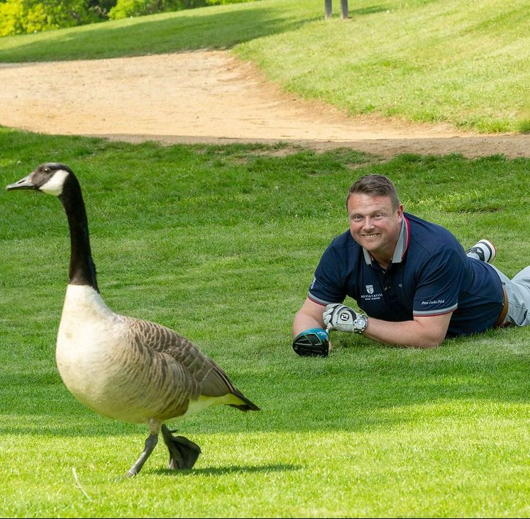Peter Parks and a goose